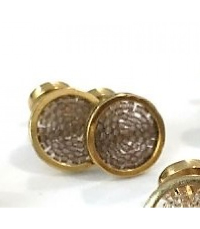 Upsala cufflinks made with Gold Plated Brass with Grey Crystal Beads