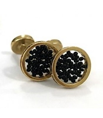 Upsala cufflinks made with Gold Plated Brass with Black Crystal Beads