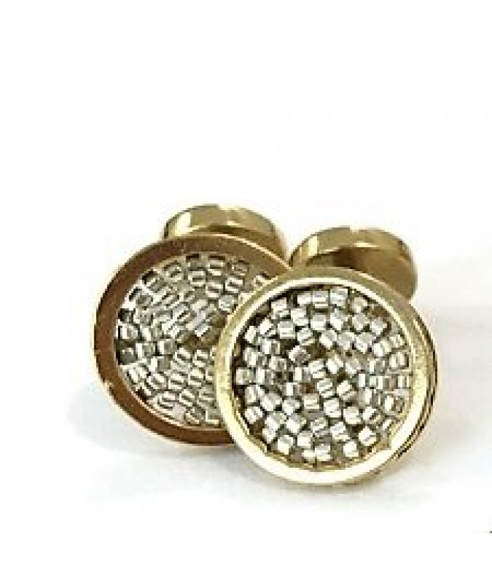 Upsala cufflinks made with Gold Plated Brass with Silver Color Crystal Beads