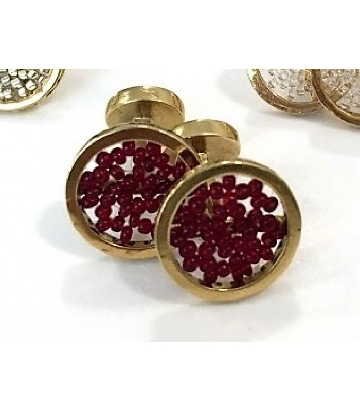 Upsala cufflinks made with Gold Plated Brass with Red Crystal Beads