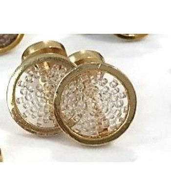 Upsala cufflinks made with Gold Plated Brass with Clear Crystal Beads