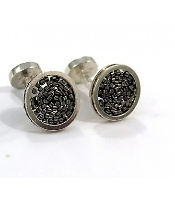 Circle A .925 Silver Cufflinks with Grey Crystal Beads