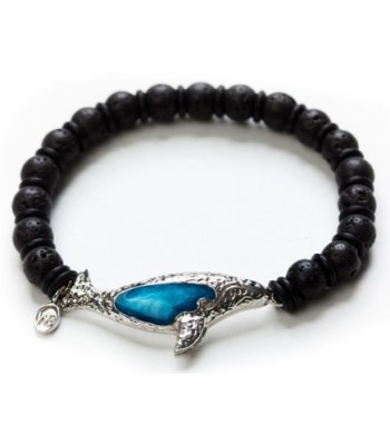 Rhodium Plated Gray Whale and Volcanic Stone Large Bracelet