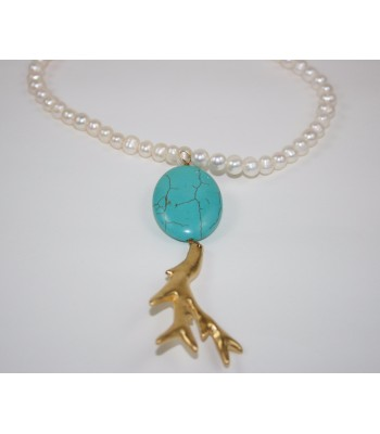 Freshwater Cultured Pearl Necklace with Turquoise and 22K Gold Plated Coral