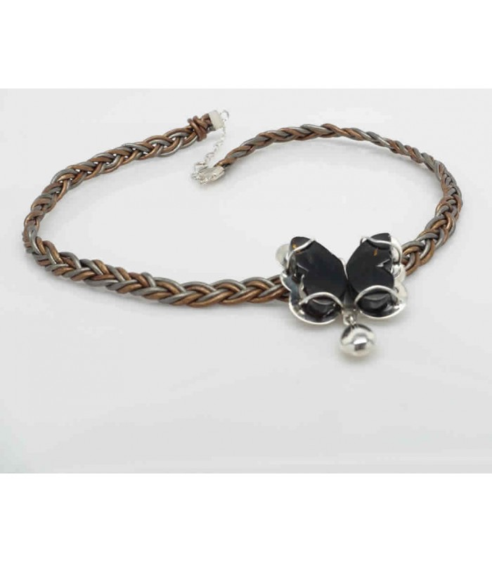 Monarch Butterfly Necklace with Woven Leather, Silver and Amber