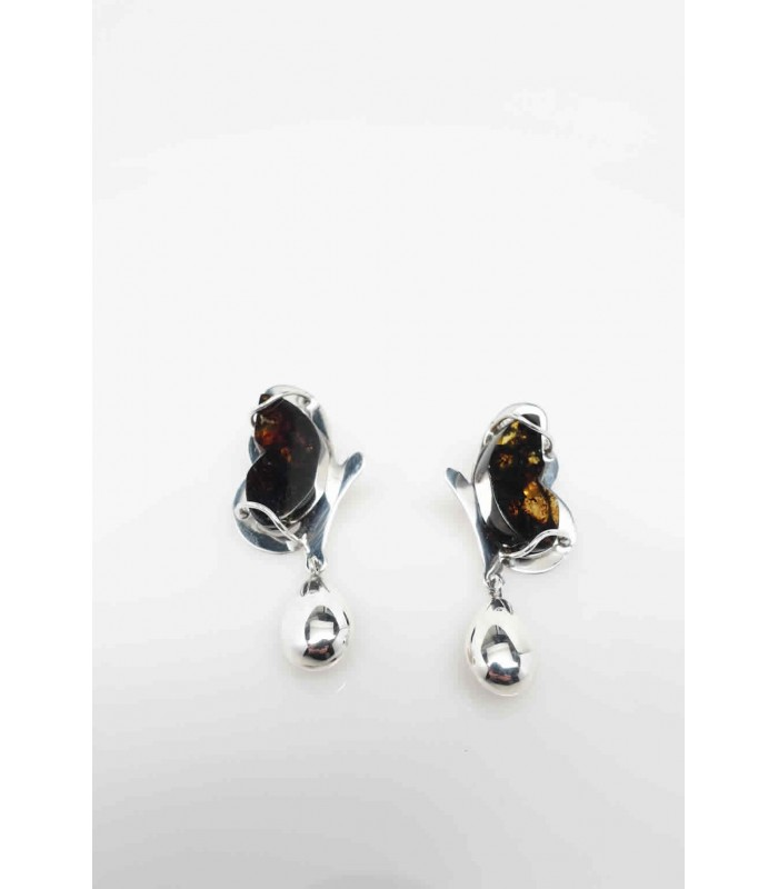Monarch Butterfly Earrings in Silver and Amber