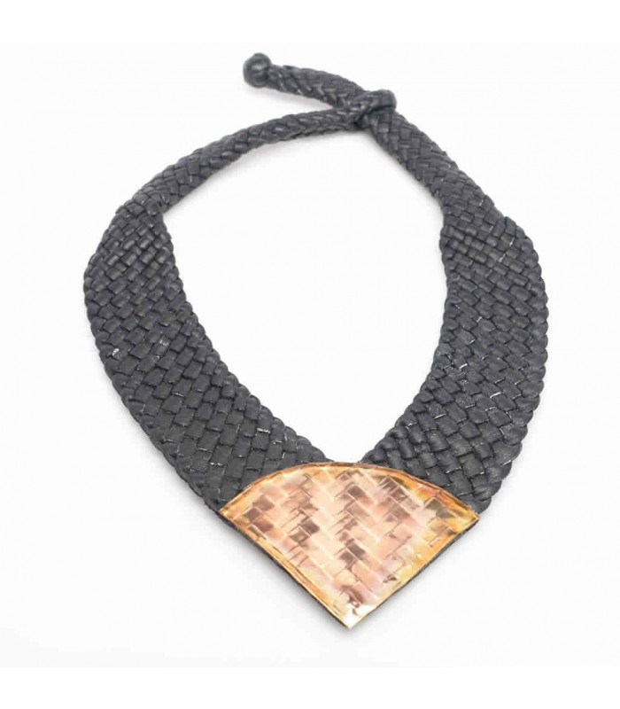 Mis Raices Woven Black Leather Necklace with Copper