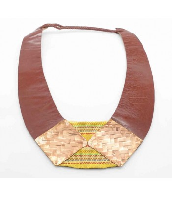 Mis Raices Brown Leather Necklace with Copper and Textile