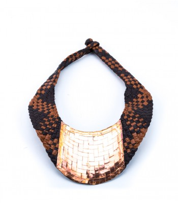 Mis Raices Black and Brown Hand Woven Leather Necklace with Copper