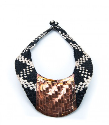 Mis Raices Black and White Hand Woven Leather Necklace with Copper