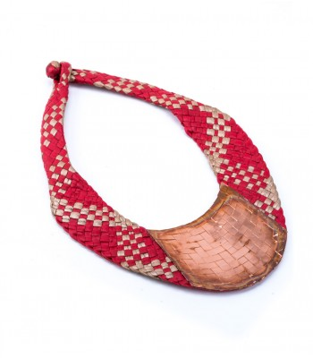 Mis Raices Red and Tan Hand Woven Leather Necklace with Copper
