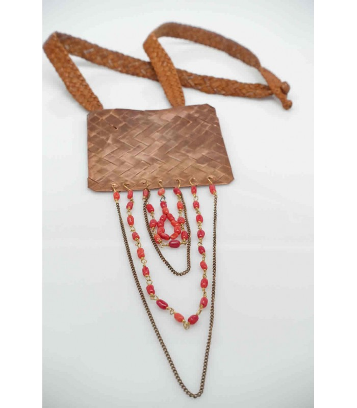 Mis Raices Woven Leather Necklace with Copper and Natural Stones