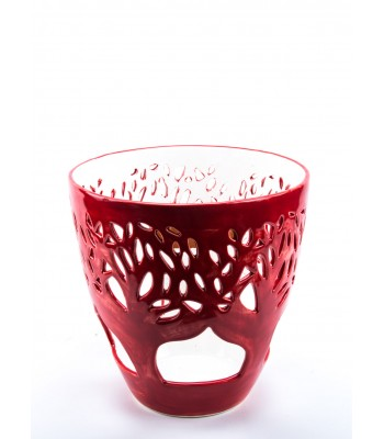 Small Decorative Flowerpot with Trees in Red