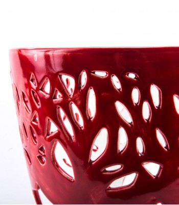 Medium Decorative Flowerpot with Trees in Red