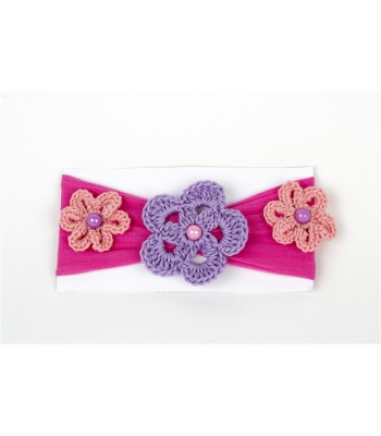 Hand Knitted Flowers Adorn a Pink Headband