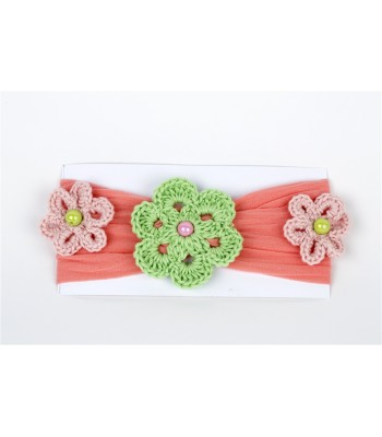 Hand Knitted Flowers Adorn and Salmon Headband