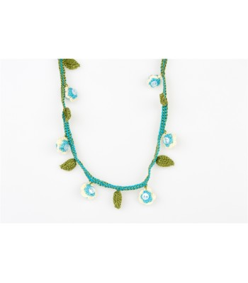 Girl's Hand Knitted Necklace in Turquoise, White and Green
