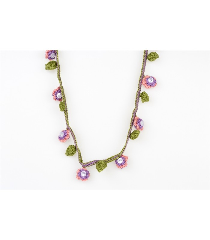 Girl's Hand Knitted Necklace in Lilac, Pink and Green