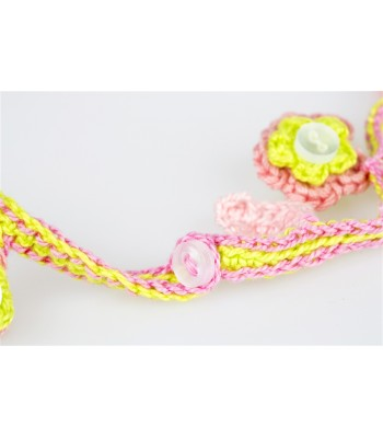 Girl's hand Knitted Necklace in Dark Pink, Light Pink and Lime Green