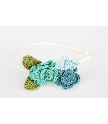Hand Knitted Flowers in a Tiara in Three Shades of Blue