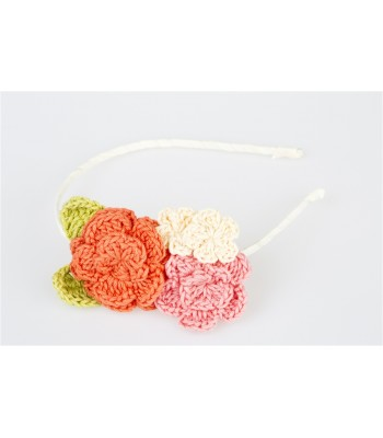 Hand Knitted Flowers in a Tiara in Salmon, Dark Pink and light pink