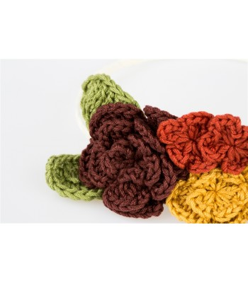 Hand Knitted Flowers in a Tiara in Shades of Brown