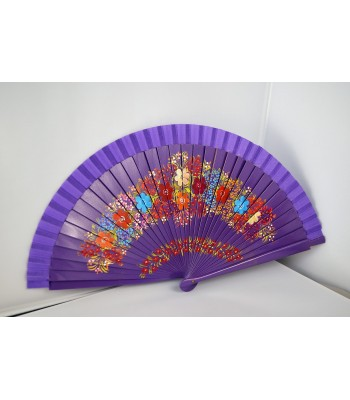 Hand painted blue wooden fan with floral motifs.
