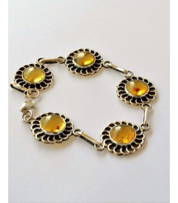 Silver Bracelet with Amber from Chiapas