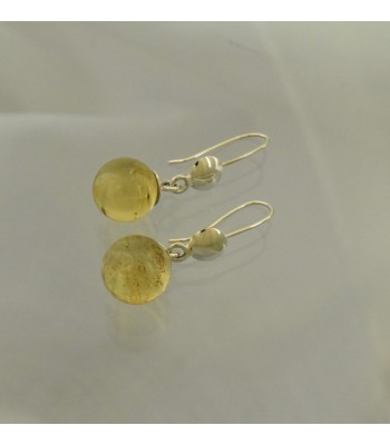 Medium amber sphere hook earrings