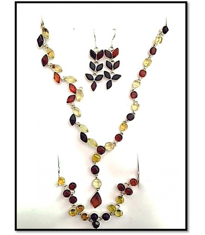 """Colors"" Set of green, yellow and red amber necklace, bracelet and earrings"