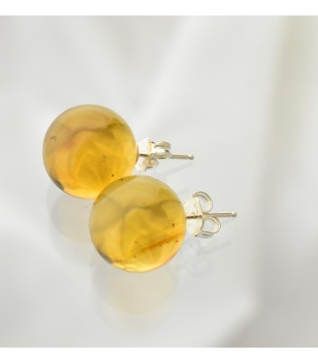 Large medium amber sphere stud earrings