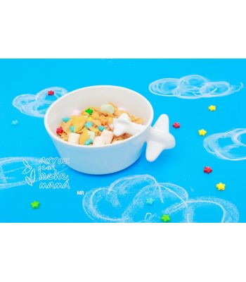Cereal Bowl with Plane in White