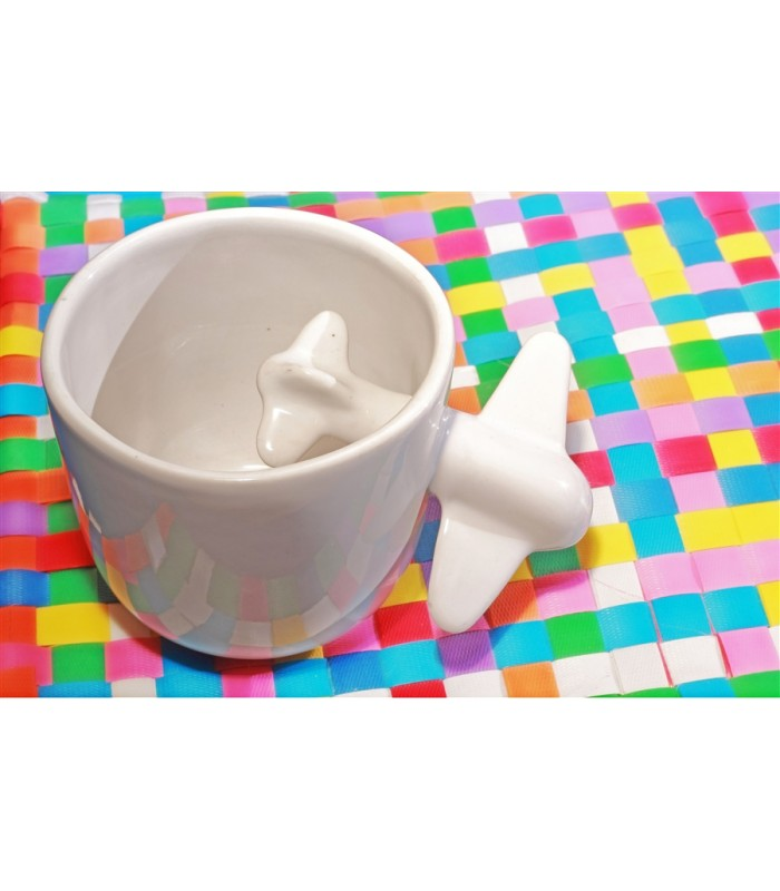 Large Ceramic Cup with Plane in White