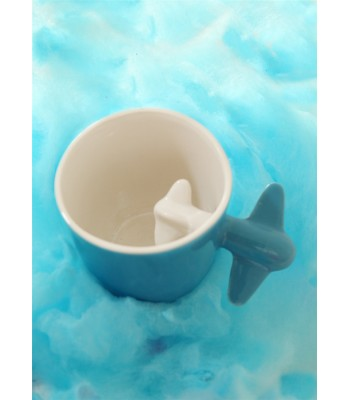 Large Ceramic Cup with Plane in Blue