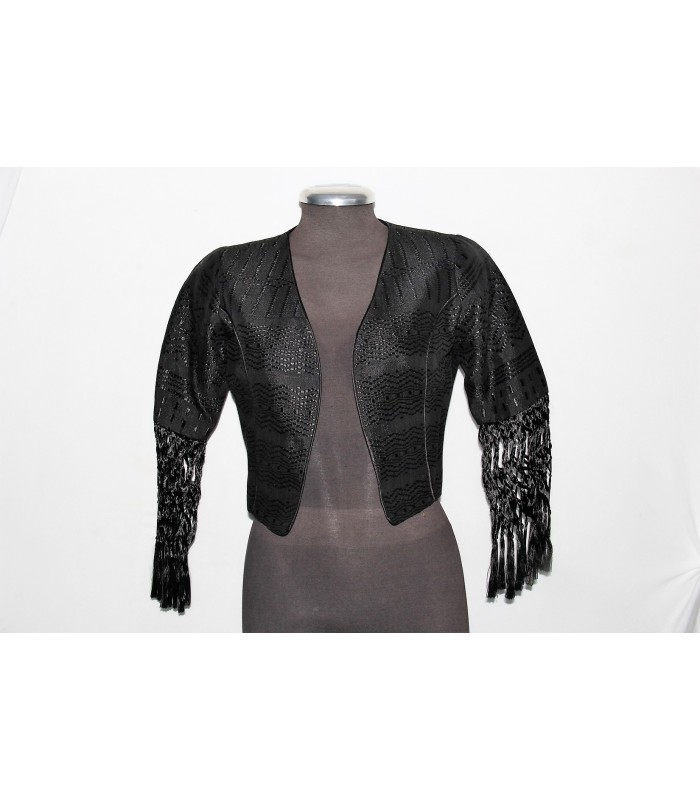 Artisela synthetic silk women's jacket, black color, woven in a back strap loom.
