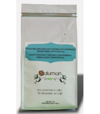 Salumán Mexican Chiapas, Ground, Toasted Coffee for Diabetics with Stevia, 1 lb. bag