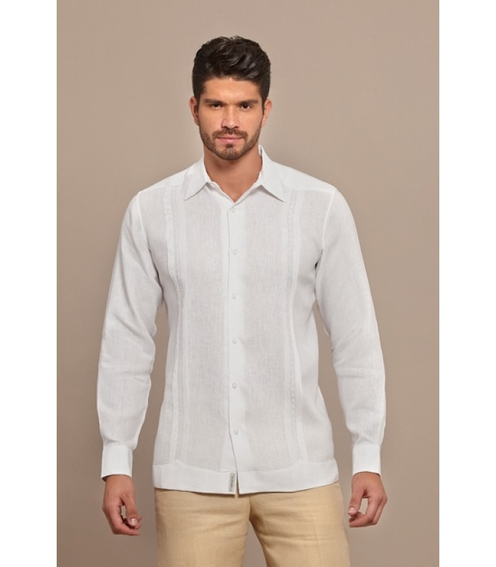 White Pleated Linen Guayabera with Embroideries in White, size 38.
