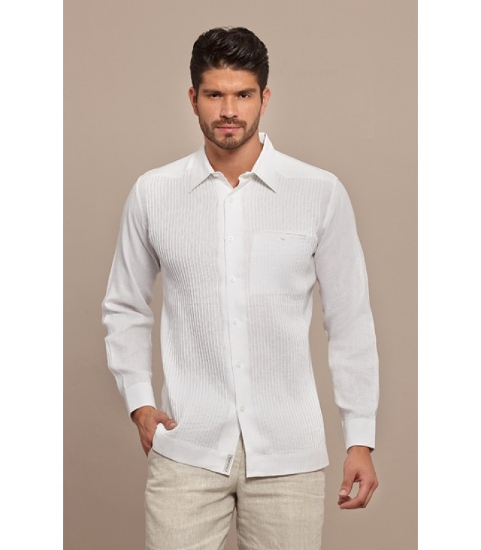 "White Pleated Linen ""Presidential"" Guayabera, size 42."