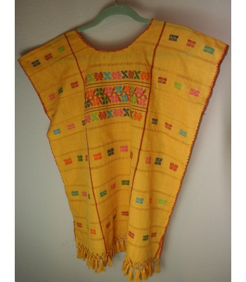 Hand-Embroidered Cotton Blouse in Yellow by Artisans from Montana Amuzga in Guerrero