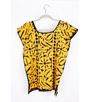 Hand Embroidered Cotton Blouse in Black and Yellow by Artisans from Oaxaca