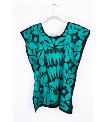 Hand Embroidered Cotton Blouse in Black and Green by Artisans in Oaxaca