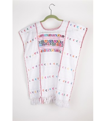 Hand Embroidered Cotton Blouse in White by Artisans from Montana Amuzga in Guerrero