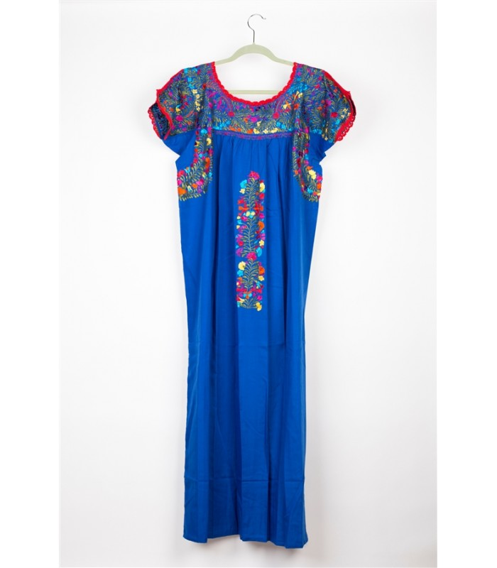 Hand Embroidered Cotton Dress in Dark Blue by Artisans from San Antonino in Oaxaca