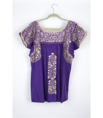 Hand Embroidered Cotton Blouse in Purple by Artisans from San Antonino in Oaxaca