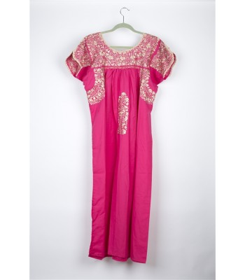 Hand Embroidered Cotton Dress in Dark Pink by Artisans from San Antonino in Oaxaca