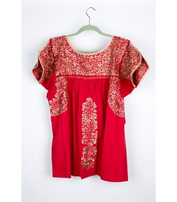 Hand Embroidered Cotton Blouse in Red by Artisans from San Antonino in Oaxaca