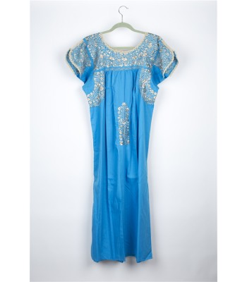 Hand Embroidered Cotton Dress in Turquoise by Artisans from San Antonino in Oaxaca