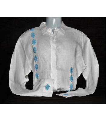 White Linen Shirt with Artisanal Embroidery in Blue, size 40.