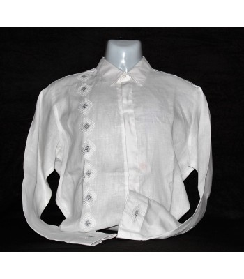 White Linen Shirt with Artisanal Embroidery in Gray, size 42.
