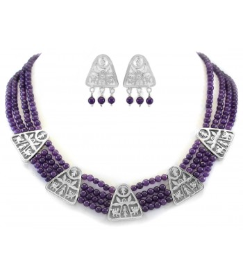 Silver Agave Triangle Necklace with Purple Coral Beads